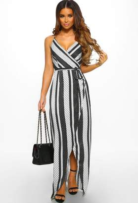 Pink Boutique Weekend Cocktails Black and White Contrast Print Wrap Maxi Dress