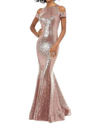 6e5f171e19 JQLD Sexy Off The Shoulder Mermaid Sequin Prom Bridesmaid Dresses Open Back Formal  Evening Gowns US