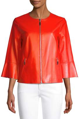 Escada Sport Levangelista Leather Bell-Sleeve Jacket