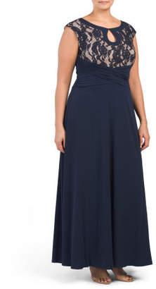 Plus Lace Cap Sleeve Gown