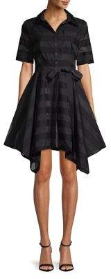 Badgley Mischka Belle Gail Short-Sleeve Striped Shirtdress