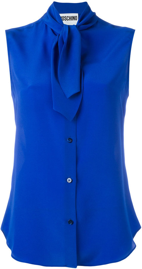 MoschinoMoschino sleeveless neck tie blouse