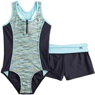 7081dba75c148 ZeroXposur Girls 7-16 Secret Code One-Piece Swimsuit & Shorts Set