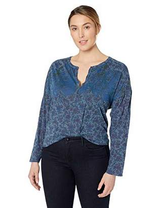 Lucky Brand Women's Plus Size Washed Western Henley Shirt