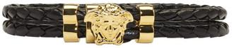 Versace Black & Gold Double Wrap Medusa Bracelet $325 thestylecure.com