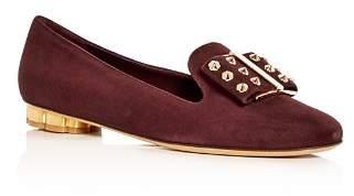 Salvatore Ferragamo Women's Sarno Suede Floral Heel Loafers