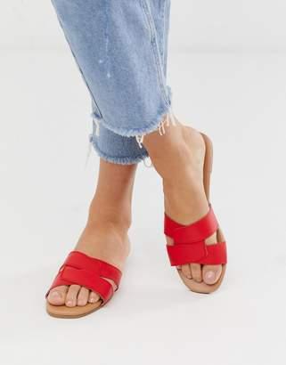 New Look cross strap slider sandal in bright red