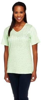 Factory Quacker Short Sleeve V-neck Mini Sequin Rib T-shirt