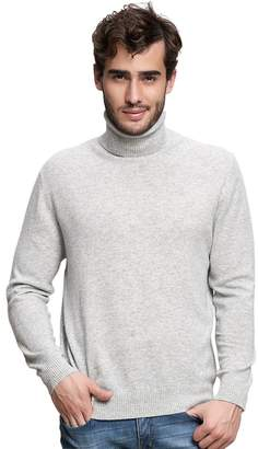 Spring Air SpringAir Men's 100% Cashmere Sweater Solid Long Sleeve Turtleneck Pullover