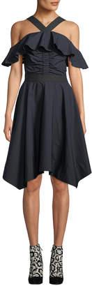 Derek Lam 10 Crosby Off-the-Shoulder Halter Poplin Dress