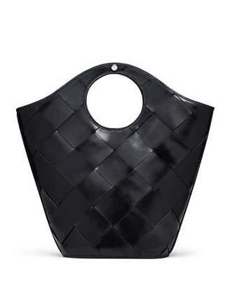 Elizabeth and James Market Woven Leather Shopper Tote Bag