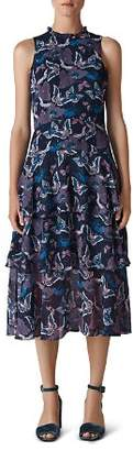 Whistles Butterfly-Print Tiered Midi Dress