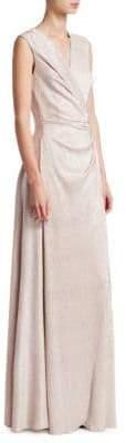 Talbot Runhof Metallic Wrap Gown