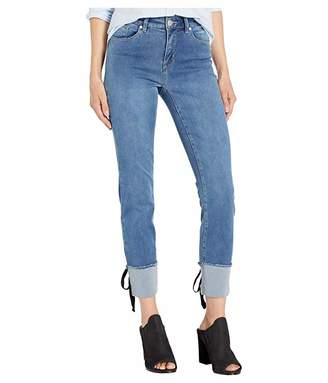 Tribal Five-Pocket Ankle Jeggings w/ Lace-Up Detail in Blue Bliss