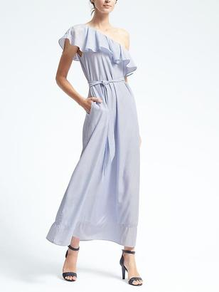 Stripe One-Shoulder Maxi Dress $158 thestylecure.com