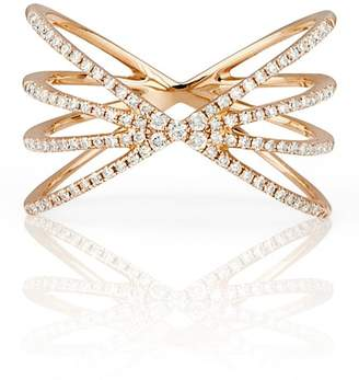 Ef Collection 14K Rose Gold Pave Diamond Sunburst Ring - Size 7 - 0.30 ctw