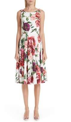 Dolce & Gabbana Peony Print A-Line Dress