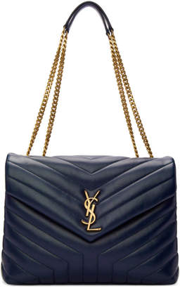 Saint Laurent Navy Medium Lou Shoulder Bag