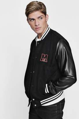 boohoo M Badge Faux Leather Sleeve Varsity Jacket