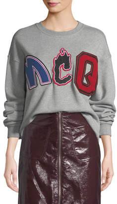 McQ Slouchy Embroidered Pullover Sweatshirt