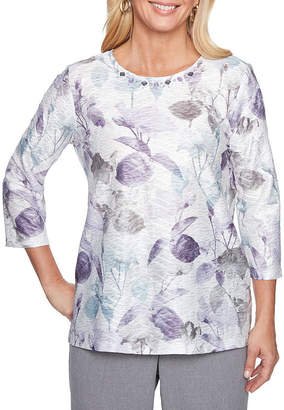 Alfred Dunner Smart Investments 3/4 Sleeve Crew Neck Floral T-Shirt-Womens