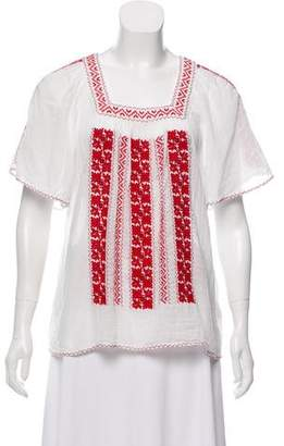Joie Embroidered Short Sleeve Top