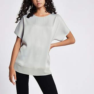 River Island Womens Grey sheer hem T-shirt