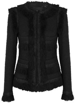 Giambattista Valli Black Frayed Tweed Jacket