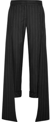 Hellessy Smith Pinstriped Wool-blend Wide-leg Pants - Black