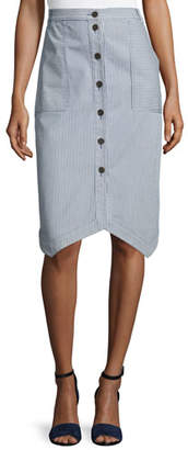 Jil Sander Navy DENIM PINSTRIPE PENCIL SKIRT