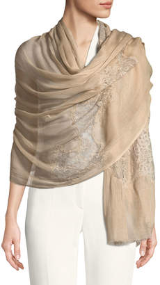 Bindya Accessories Opposite Attraction Lace-Trim Stole, Beige