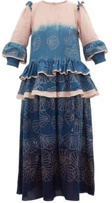 story. Mfg - Tulsi Seashell Print Organic Cotton Midi Dress - Womens - Blue Multi