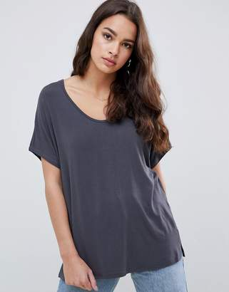 Asos DESIGN t-shirt with drapey batwing sleeve in gray