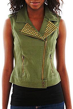 Fang Embellished Moto Vest