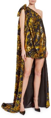 Halpern One-Shoulder Swirled Sequin-Bow Gown