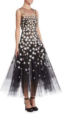 Oscar de la Renta Starfish Tulle A-Line Cocktail Dress