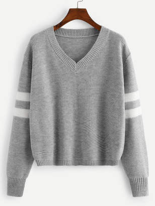 Shein V Neck Striped Sleeve Sweater