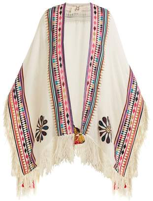Figue - Katrine Embroidered Wool Blend Twill Poncho - Womens - White Multi