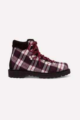 Diemme Roccia Vet Suede-trimmed Plaid Felt Ankle Boots - Brown