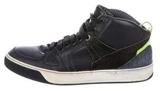 Lanvin Leather Mid-Top Sneakers