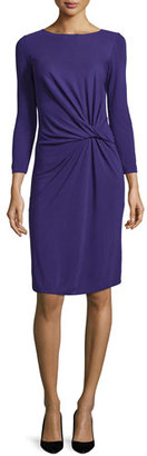 Armani Collezioni Long-Sleeve Knotted Sheath Dress, Imperial Purple $895 thestylecure.com