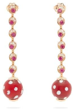 Francesca Villa Pois Pois Diamond And Ruby Rose Gold Earrings - Womens - Red