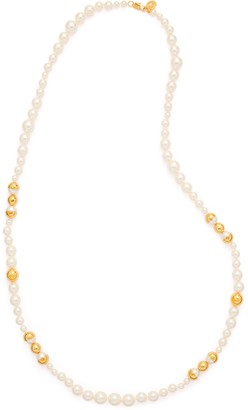 Tory Burch CAPPED CRYSTAL-PEARL LONG NECKLACE