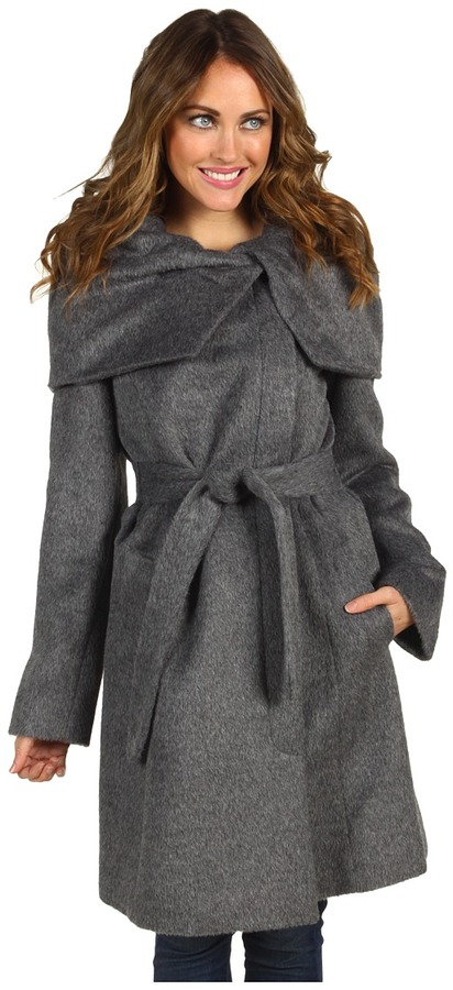 Cole Haan Suri Alpaca Hidden Zip Belted Coat (Grey) - Apparel