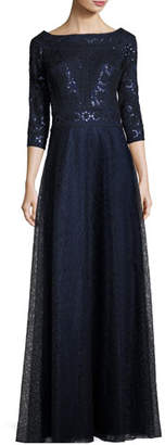 Tadashi Shoji 3/4-Sleeve Pintucked Floral Lace Gown, Navy $550 thestylecure.com