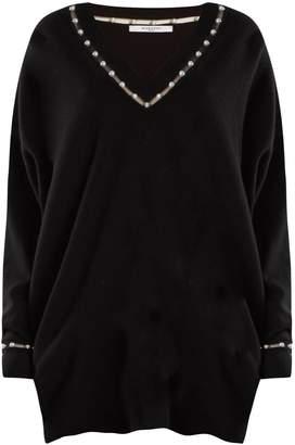 Givenchy Pearl-embellished V-neck wool-blend sweater