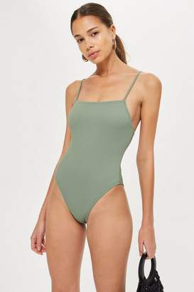 Topshop Straight Neck Ribbed Swimsuit