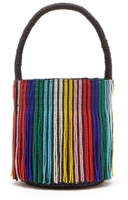 Sensi Studio - Tasseled Toquilla Straw Mini Bucket Bag - Womens - Black Multi