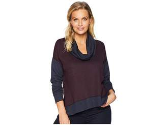 Three Dots High-Low Funnel Neck Top