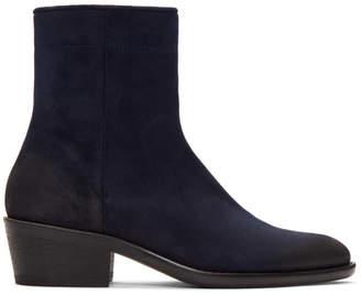 Haider Ackermann Blue Suede Boots